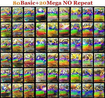 Pokemon TCG 100 Pcs Gold Flash Card Pokemon EX CARDS 80 Basic + 20 MEGA Pikachu