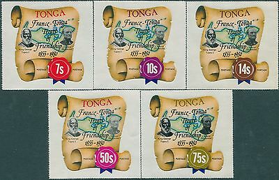 Tonga 1980 SG741 France-Tonga Treaty Of Friendship set of 5 MNH