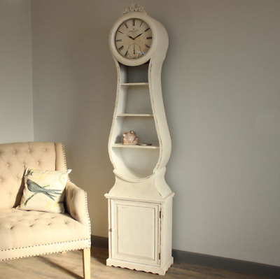 Antique Grandfather Clock Shabby Chic Longcase Shelves Vintage Moon Style Tall
