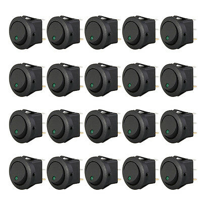 20 Mini Round Green LED Rocker Indicator Switch 3 Pin On-Off 12V DC BF