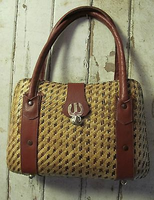 BAG HANDBAG Cane and Leather Genuine 60s VINTAGE Woven Retro Purse Wicker Basket