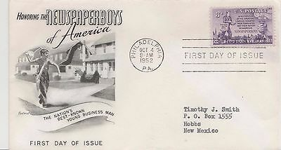 First day issue , 1952, Newspaperboys of America 3 cent, Scott Catalog # 1015