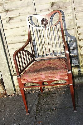 Antique Art Nouveau Mahogany Armchair Liberty? Upholstered Seat Original Fabric