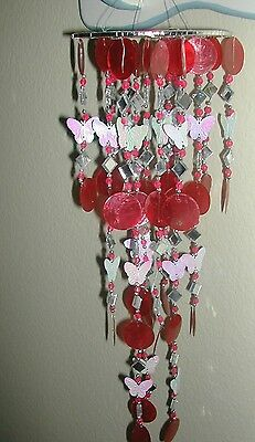Soft Island Sound Capiz Shell Chime 10 Strand Red W/ White Butterfly's &beads