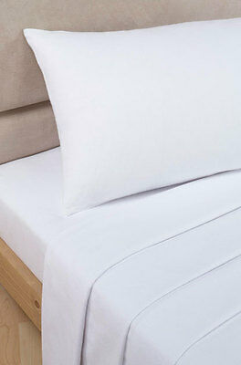 Polycotton Percale - Fitted Valance Sheet - White - Double