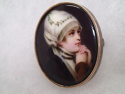 Antique Hand Painted Porcelain Portrait Brooch Beautiful Lady With Hat