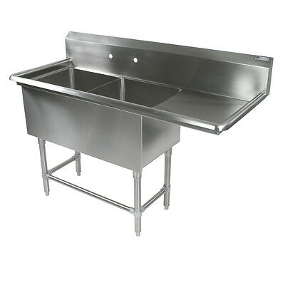 "John Boos 2PB18244-1D24R 2 Compartment 18"" x 24"" Stainless Steel Pro-Bowl Sink"
