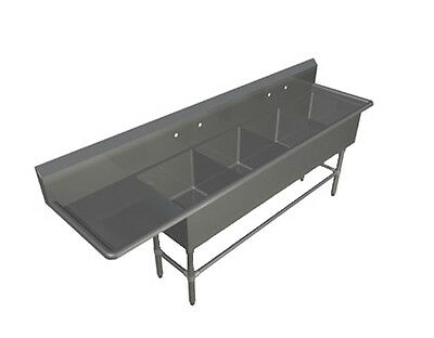 """John Boos 4PB18244-1D30L 4 Compartment 18"""" x 24"""" Stainless Steel Pro-Bowl Sink"""
