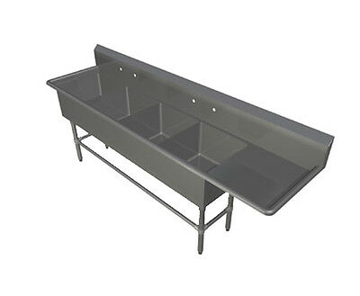 """John Boos 4PB16184-1D24R 4 Compartment 16"""" x 18""""Stainless Steel Pro-Bowl Sink"""