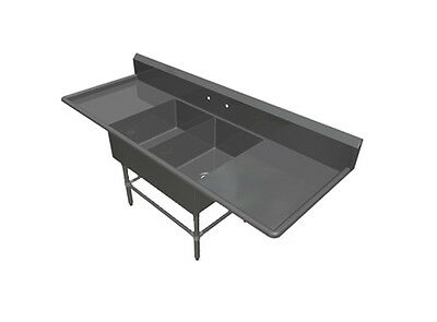 """John Boos 2 Compartment 20"""" x 28"""" Stainless Steel Pro-Bowl Bakery Sink"""