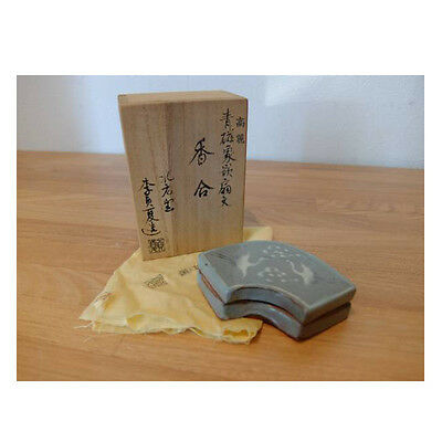 Korean Goryeo style celadon Incense Case by famous LEE JEONG HA [白石]李貞夏  w/box