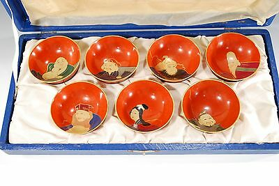 Antique Japanese Wood Lacquerware sake cup Seven lucky god 7 SET hand painting
