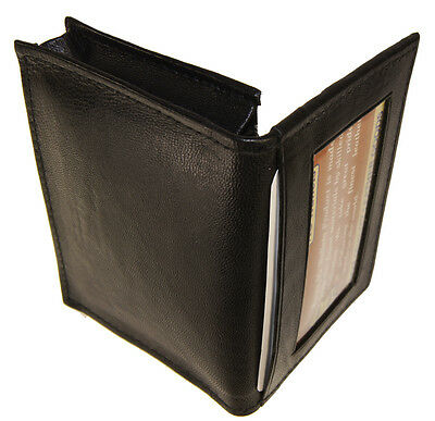 Genuine Leather Expandable Credit Card Outside ID Business Card Holder Black New