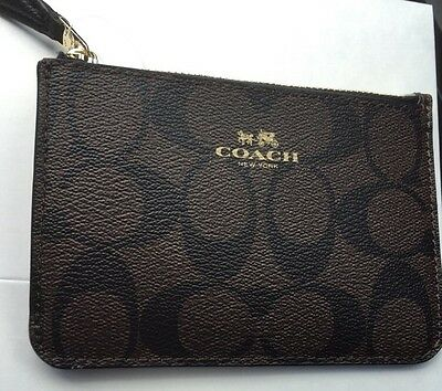 Coach Authentic Key Pouch Credit Card & Coin Wallet In Brown Signature C Nwt