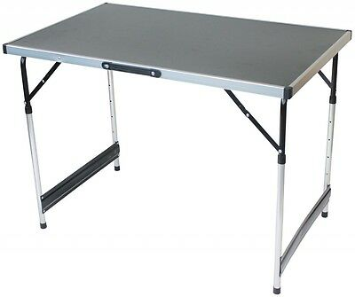 Lightweight Aluminium Preparation And Dining Table Silver & Black / 4 adjustable