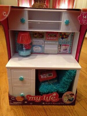 "My Life as Desk & Accessories 14 Piece Set Cute 18"" Doll Furniture NIB"