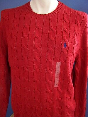 Nwt Polo Ralph Lauren Men's, Cable Knit Sweater, Crew Neck, Cotton, Red / Blue