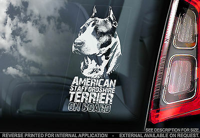 American Staffordshire Bull Terrier -Dog Car Sticker - Staffie Cropped/Uncropped