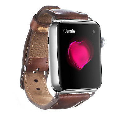 Apple Watch 42mm Burkley Genuine Padded Leather Strap / Band in Burnished Tan
