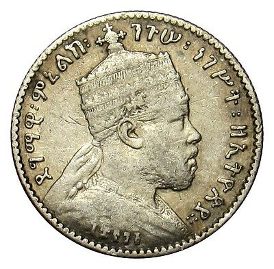 Ethiopia 1 Gersh silver coin KM#12 EE 1895 (1902-03) lion  VE01 (b3)