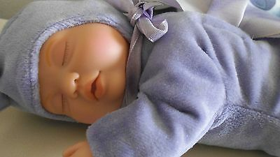 "Vintage Anne Geddes Vinyl & Cloth Sleeping Baby Doll - 9 1/2"" Long - Butterfly"