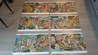 Vintage Original Hawaiian Menu Covers/set Of 6/eugene Savage Artist/matson Lines