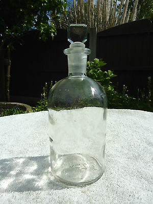 16.2cm Antique Clear Glass Poison Bottles Apothecary Chemist Old With Stopper