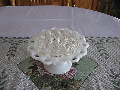 Anchor Hocking Milk Glass Bowl/flower Vase -  Old Colony Open Lace