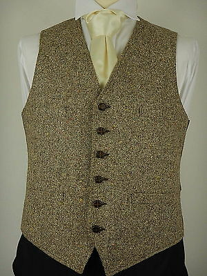 Vtg Mens Brown With Coloured Flecks Tweed Wool Country Waistcoat Vest Size UK 40