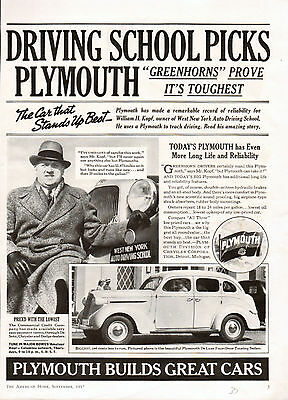1937 Plymouth Car ad --Deluxe Four-Door Touring Sedan----t429