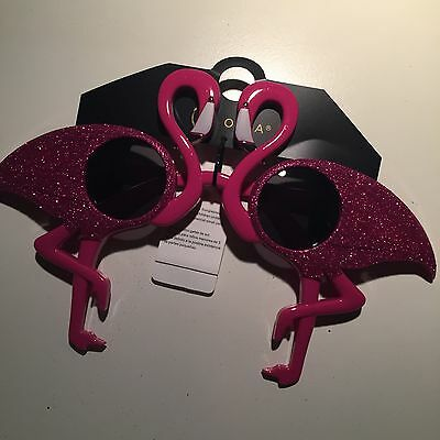 Pink Flamingo Glitter Novelty Sunglasses  Party Photobooth Valentines