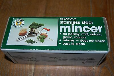 """vintage ROWOCO INOX ITALY kitchen stainless steel 7"""" mincer New in Box"""