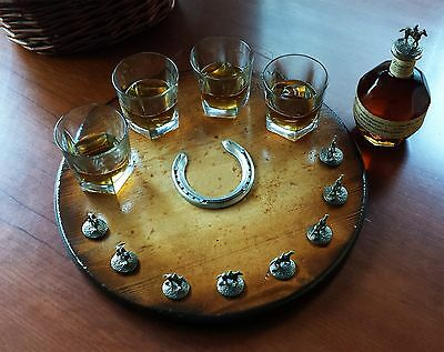 """blantons bourbon cork stopper display lazy susan turntable suzan without """"B"""""""