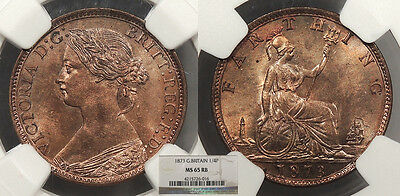 GREAT BRITAIN Victoria 1873 Farthing NGC MS-65 RB