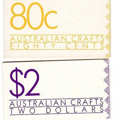 1988 AUSTRALIAN CRAFTS 80c and $2 STAMP BOOKLETS MUH