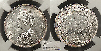 INDIA Victoria 1899-B inverted 1/2 Rupee NGC MS-62