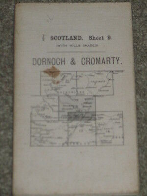 "OS Ordnance Survey Antique 1/2"" 1913 Dornoch & Cromarty - sheet 9 on cloth"