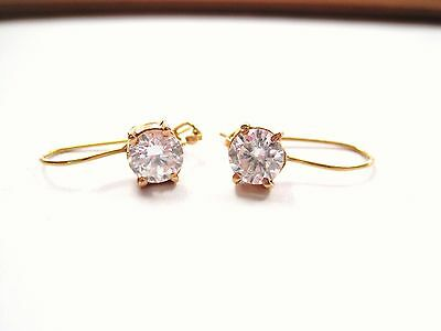 LQQK Gorgeous 21k Yellow GOLD Drop Earrings w/ large round Sparkly CZs Ladies