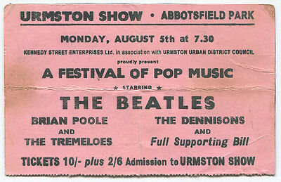 THE BEATLES *1963* original very rare concert ticket urmston show HARD TO FIND