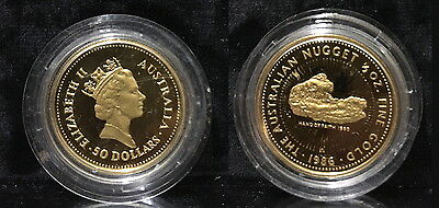 1986 Australia 1/2 oz Proof Gold Nugget--THE HAND OF FAITH NUGGET FOUND 1980