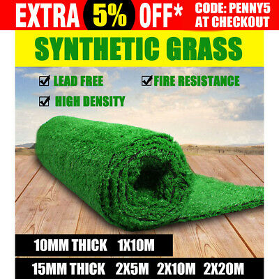 10 20 40SQM Artificial Grass Synthetic Turf Plastic Plant Lawn 10MM 15MM Emerald