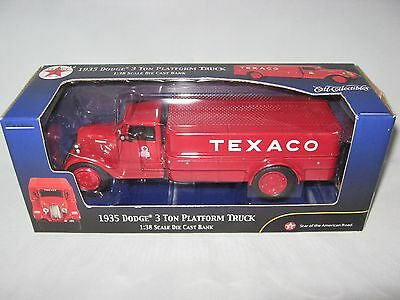 Texaco 1935 Dodge 3 Ton Platform Truck Die Cast Bank 2002 Ertl Collectibles