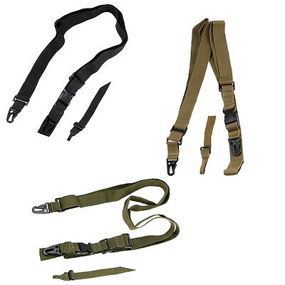 Adjustable 3 Point Tactical Hunting Bungee Rifle Sling  Strap Quick Detach Strap