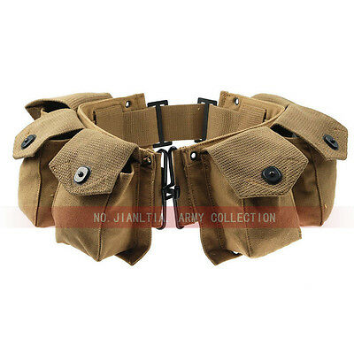 WWII US Military Infantry USMC M1 Ammo Belt Pouch Paratrooper Bar 6 Cells