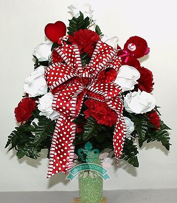 Beautiful Red and White Roses Cemetery Flowers for a 3 Inch Vase