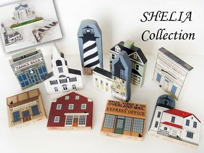 SHELIA Vintage Collection of 1986-99 The Cat's Meow Wooden House Models - PLUS >