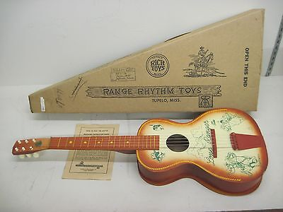 Vintage 1950's Lone Ranger Tonto Wood Toy Guitar w/ Box & Beginner Instructions