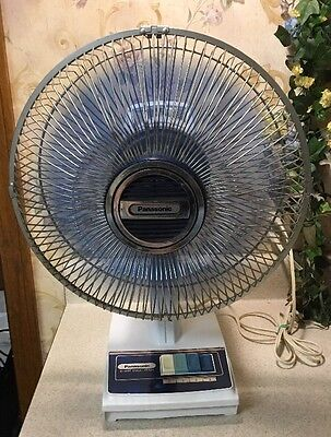 Vintage Rare F-1208 Panasonic 5 way Oscillating Electric Table Fan Blue Blades