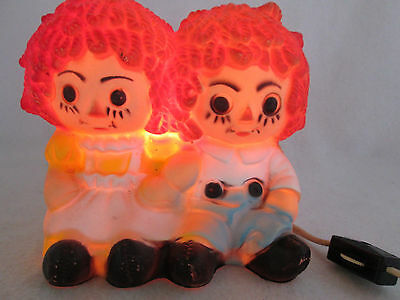 Vintage Raggedy Ann Andy rubber electric night light lamp