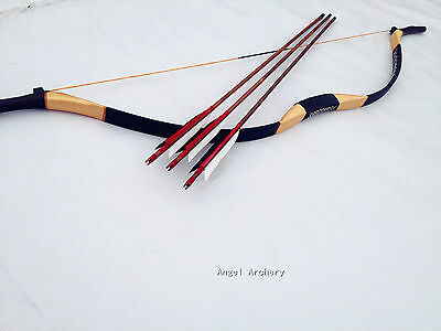 New Year Handmade bow Traditional Longbow recurve Bow 20lb-60lb +3 bamboo arrows